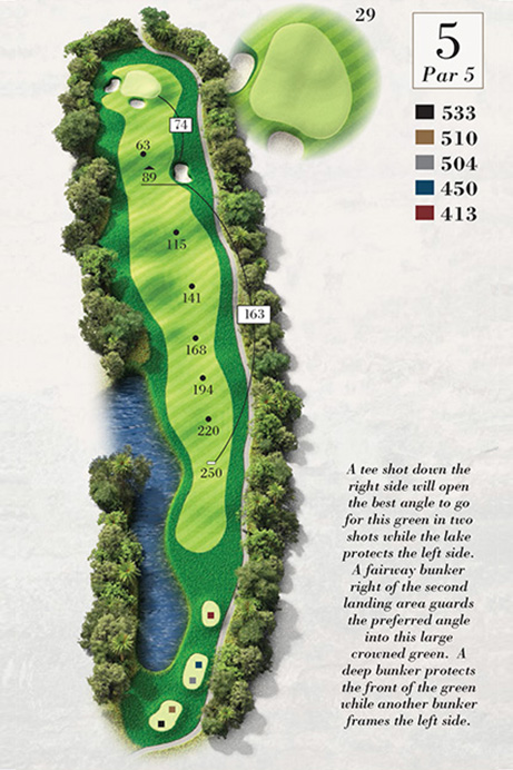Map of Hole 5 of Turtle Point Golf Course