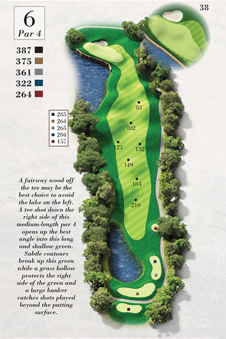 Map of Hole 6 of Turtle Point Golf Course