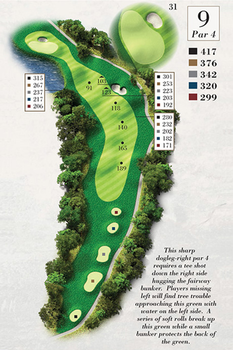 Map of Hole 9 of Turtle Point Golf Course