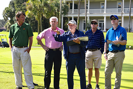 Jack Nicklaus discusses potential changes to Turtle Point to resort president, Roger Warren and reps. of Nicklaus Design and superintendent Steve Agazzi