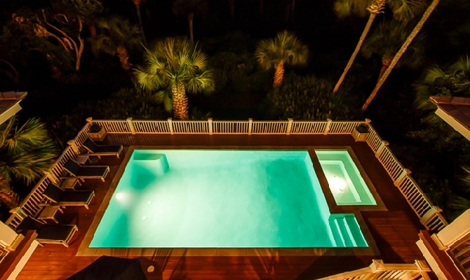Aerial Night Pool View