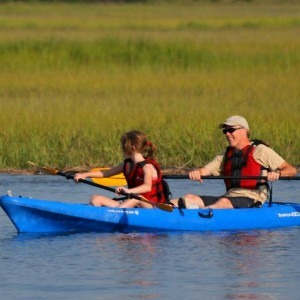 Family Kayaking in Marsh