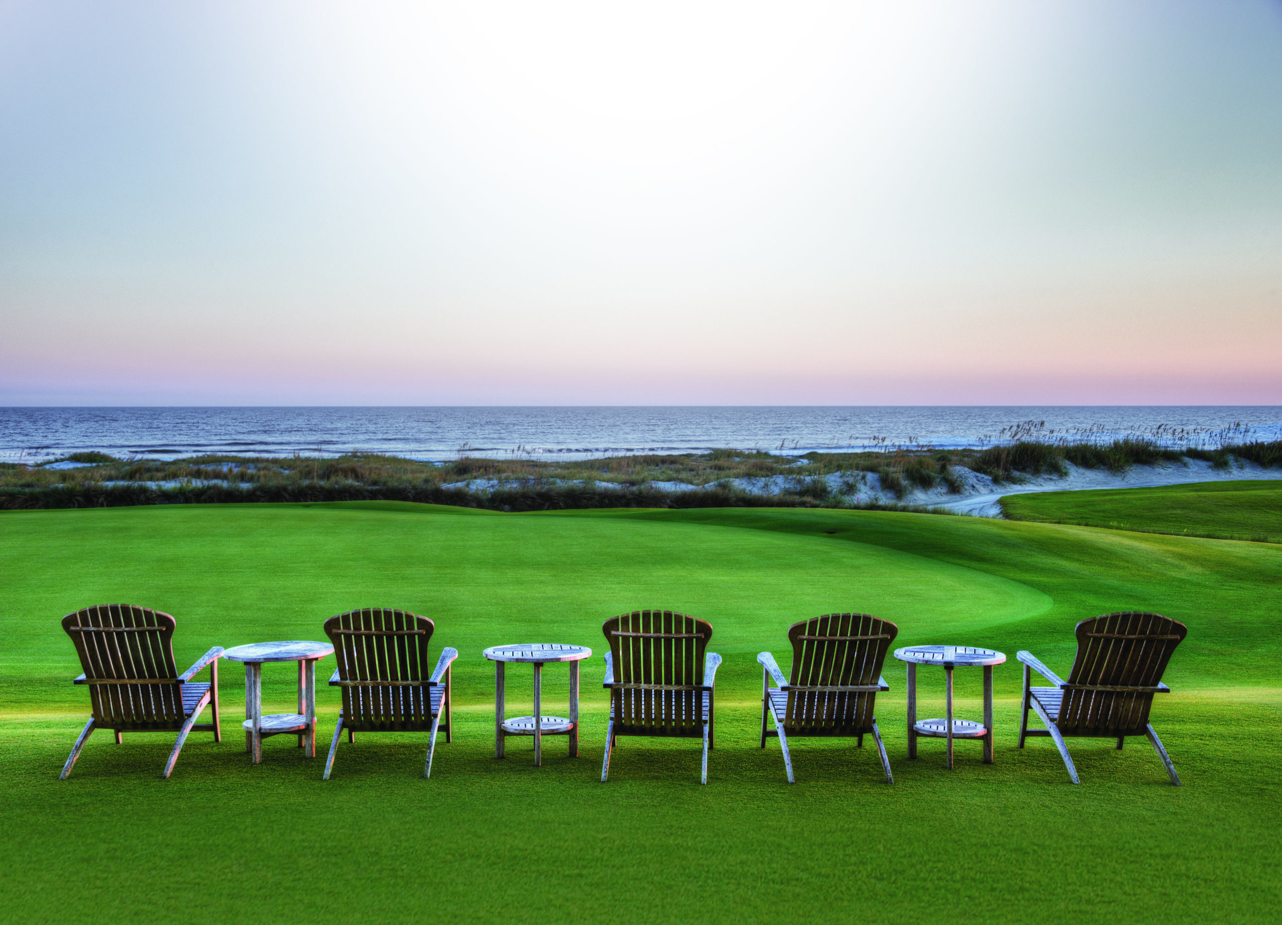 chairs setup on Kiawah Island golf course